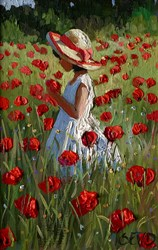 Poppy Meadow Delight by Sherree Valentine Daines - Original Painting on Board sized 6x9 inches. Available from Whitewall Galleries